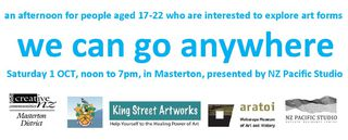 An Afternoon for creative people aged 17-22 to explore art forms - Oct 1